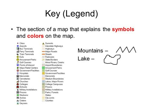 maps color legend key legend the section of a map that explains the