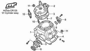 Honda Cr125 Parts  2001 Cylinder  Head Assy   U2013 Msquared Karting