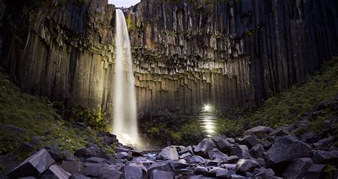 light painting and landscape photography svartifoss iceland