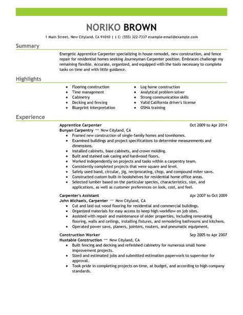 How To Write A Resume For Construction by Carpenter Resume Sle Diplomatic Regatta