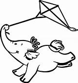 Fly Kite Elephant Cute Coloring Cartoon Pages Guy Print Template Getcolorings Printable Insider Circus Wecoloringpage sketch template