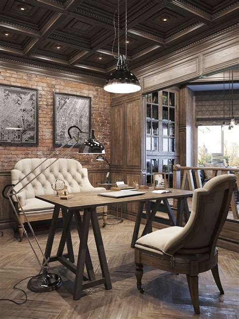 vintage home office interiors office designs rustic office and interiors 3206