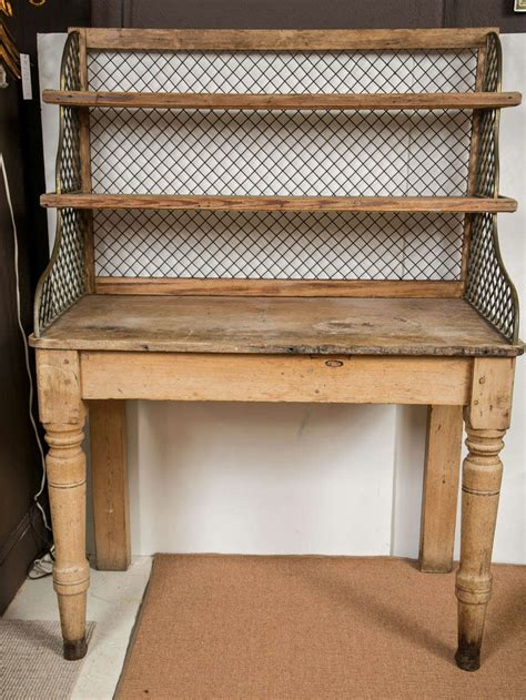 19th C Antique English Potting Table With Wire Mesh Sides