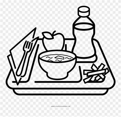 Coloring Clipart Pages Lunch Drawing Tray Meal