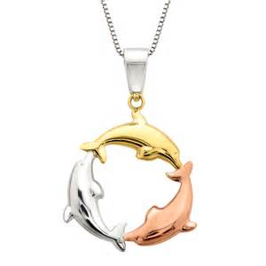 Gold Dolphin Necklace Pendant