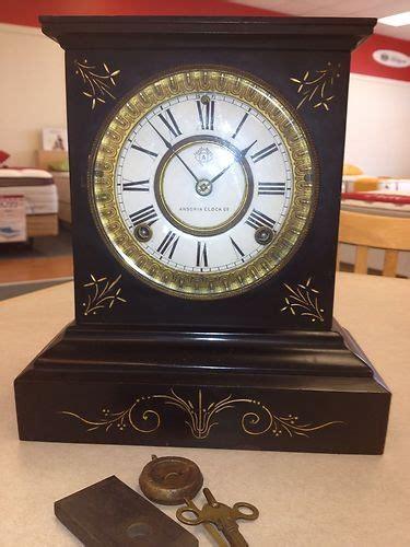 ansonia victorian cast iron black mantle working clock