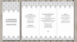 Damask paperchain wedding stationery for Wedding invitation templates dl size