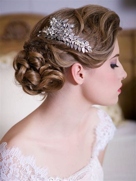 Silver Leaf Headpiece With Crystals And Pearls #2048059