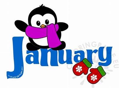 January Clipart Clip Calendar Month Penguin Jan