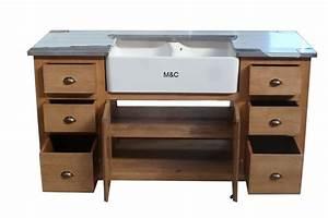 meuble evier de cuisine 2 bacs en bois With meuble sous evier bois massif
