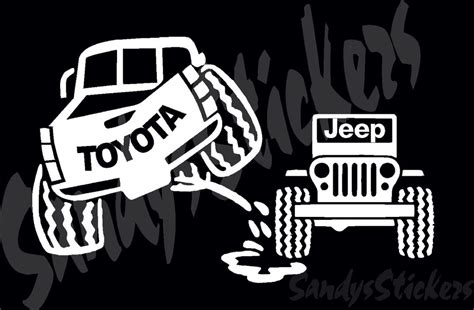 Toyota Peeing On Jeep Sticker Decal