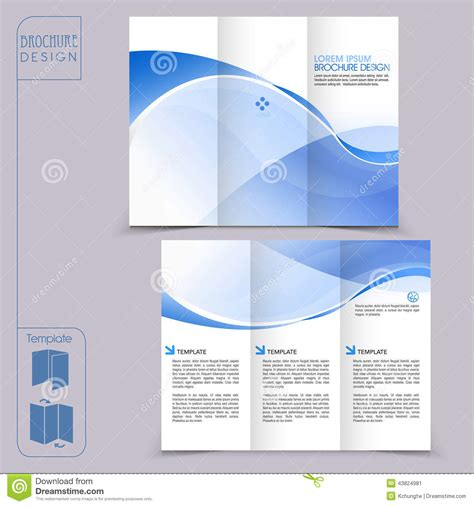 Simplicity Tri Fold Brochure Template Design Stock Vector Tri Fold Blue Template For Business Advertising Brochure