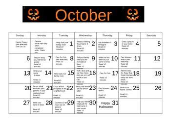 homework calendar to send home with students october 613 | 132c481975d4b35f21e58a2a822699c1