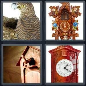 pics  word answer  bird clock wooden carved