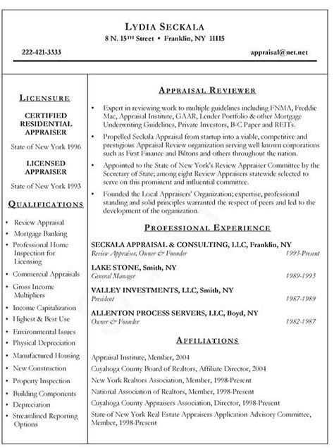 Real Estate Resume by Real Estate Appraiser Resume Exle Resume Exles