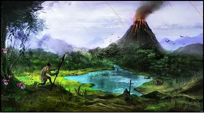 Prehistoric Valley Deviantart Jungle Volcano Landscapes Environment
