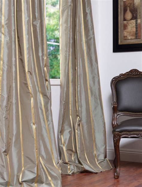 Silk Striped Drapes - providence designer silk taffeta stripe curtains drapes
