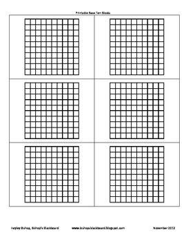 printable base ten blocks  bishops blackboard
