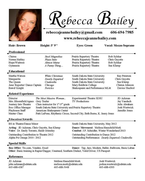 theatre resumes acting resume best template collection