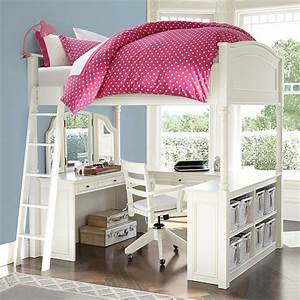 Chelsea vanity loft bed pbteen for Chelsea vanity loft bed used