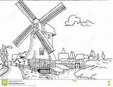 Mill Landscape Coloring Dutch Drawn Adult Designlooter 86kb 1300 1017px Vector sketch template
