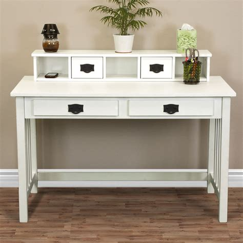 white and wood desk writing desk mission white home office computer desk solid