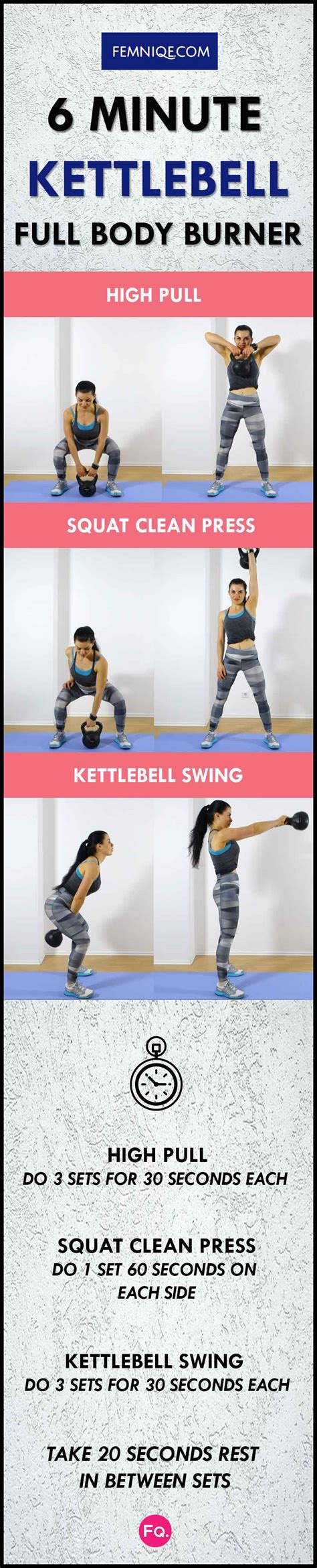 kettlebell workout routine minute chart frequency body fat femniqe burn