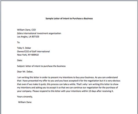 letter  intent  purchase template