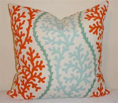 coral outdoor pillow outdoor coral blue orange pillow cushion covers nautical