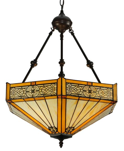 stained glass inverted pendant light meyda 138113 peaches inverted pendant