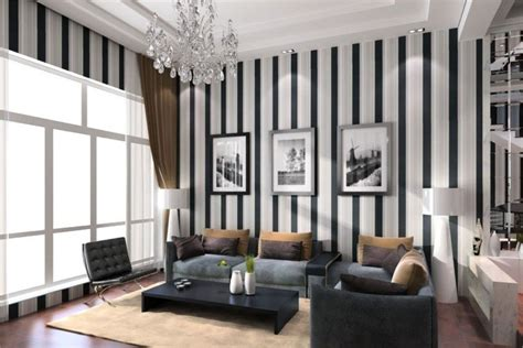 Striped Wallpaper Living Room Ideas by Living Room Design Ideas Of Black And White Vertical