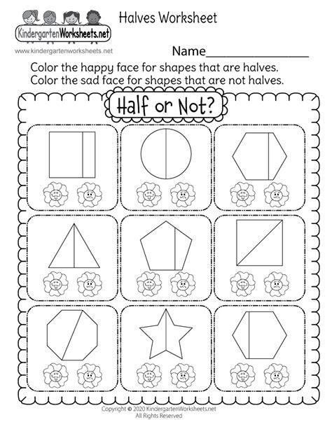 kindergarten fraction worksheet  math worksheet  kids