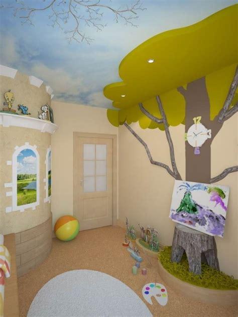 Kinderzimmer Deko Haus by Kinderzimmergestaltung Farbe Wandmalerei Baum Decke Himmel