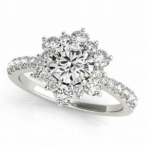 diamond halo engagement ring snowflake moissanite rings With snowflake wedding ring set