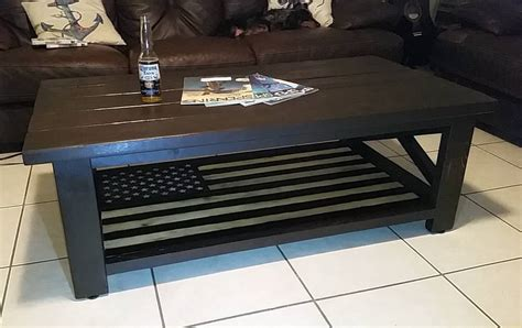 Below table is one of sample hand torching is an easy method that commonly used to give burned looks on wooden american flag coffee table. American Flag Rustic X Coffee Table | Ana White
