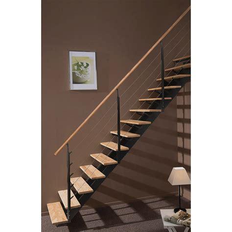 escalier droit escatwin structure aluminium marche bois leroy merlin