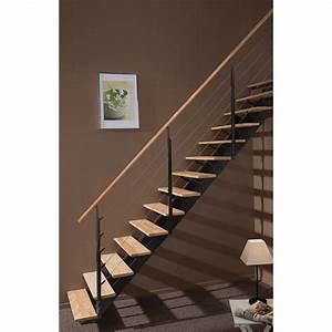 escalier droit escatwin structure aluminium marche bois With leroy merlin piscine bois 3 escalier modulaire strong structure metal marche bois