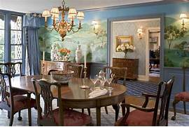 Formal Dining Room with Murals - Traditional - Dining Room      Traditional Formal Dining Room