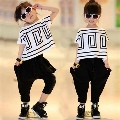 Girl Sports Suit Summer New Kids Hip Hop Clothing For Teen Girls Batwing Sleeve Clothing ...