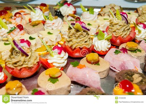 canape buffle canapes on a buffet table shallow dof stock photo image
