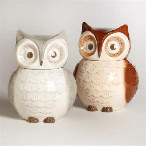 owl kitchen set owl cookie jars set of 2 world market