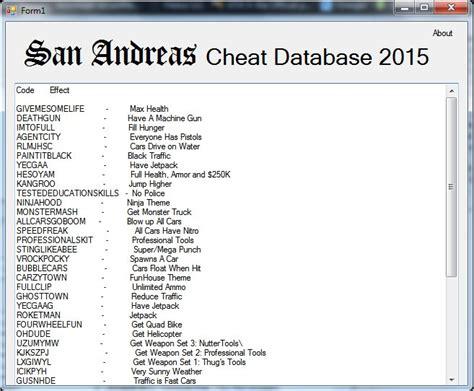 Gta San Andreas Gta Sa Cheat Database 2015 Mod