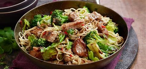 Leftover pork roast is very good added to the oriental flavored top ramen. Left over pork roast - Pork Ginger Noodles & Broccoli Stir Fry Recipe - Sainsbury's   Pork ...