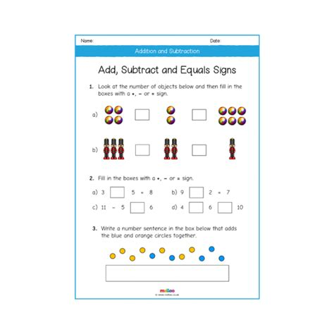 addition  subtraction year  worksheets maths melloo