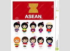 Girls Of Asean With Flag AEC Stock Vector Image 54216424