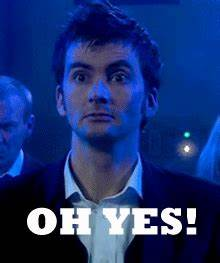 Reaction gif tagged with yes, David Tennant
