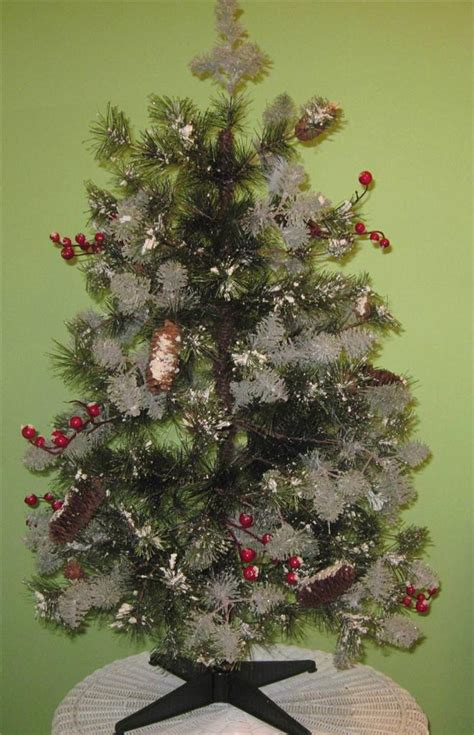 artificial christmas tree 3 ft mini snow needle pine with