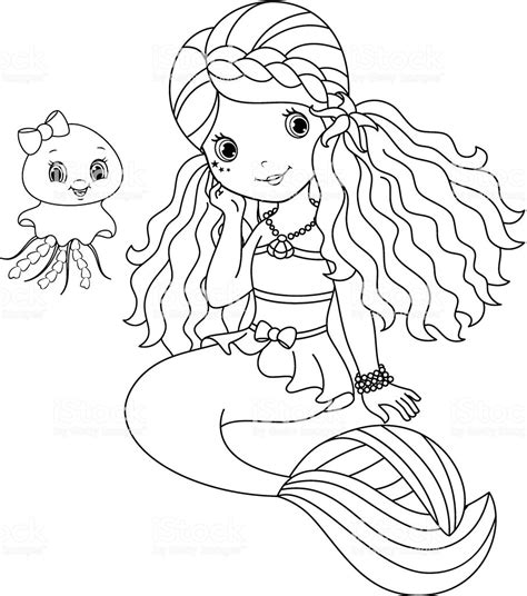 mermaid coloring page stock illustration  image