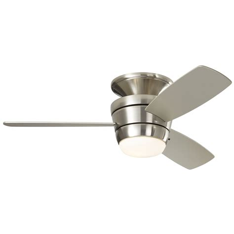 flush ceiling fan with light shop harbor breeze mazon 44 in brushed nickel flush mount