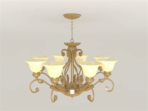 Vintage Brass Chandelier 3d model 3ds Max files free